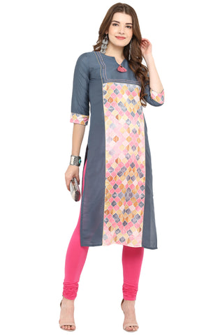 Grey Color Poly Silk Readymade Casual Party Kurtis ( Sizes-36,38,40,42,44): Armita Collection YF-70139