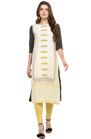 Light Yellow Color Crepe Readymade Casual Party Kurtis ( Sizes-36,38,40,42,44): Armita Collection YF-70204