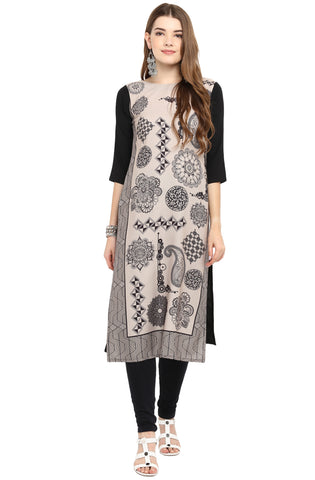 Cream & Black Color Crepe Readymade Casual Party Kurtis ( Sizes-36,38,40,42,44): Armita Collection YF-70224