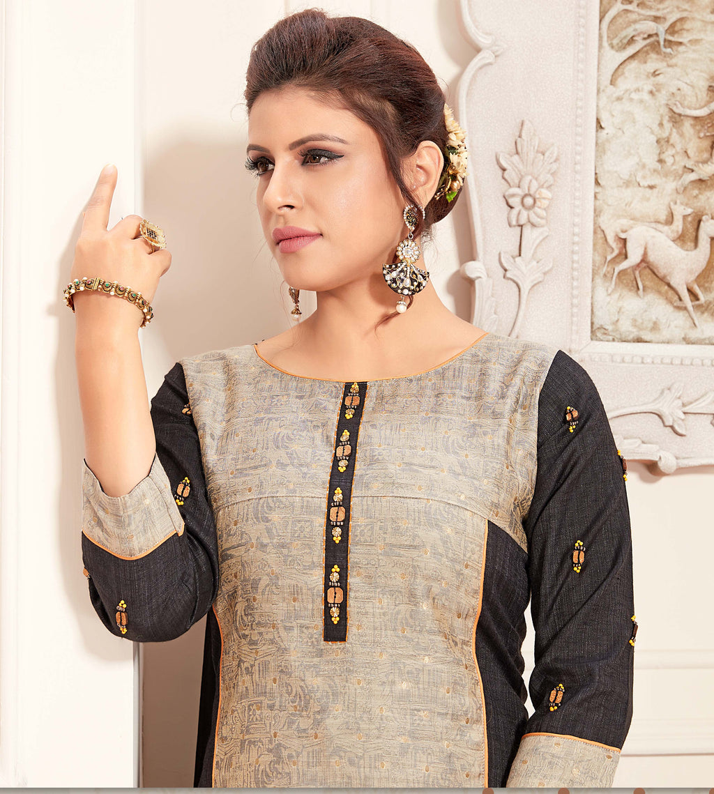 Grey & Black Color Raw Silk Readymade Party Wear Straight Suits NYF-9655