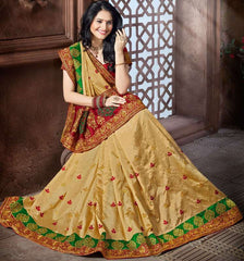 Golden Color Crepe Silk Designer Festive Sarees : Niyara Collection  YF-51809