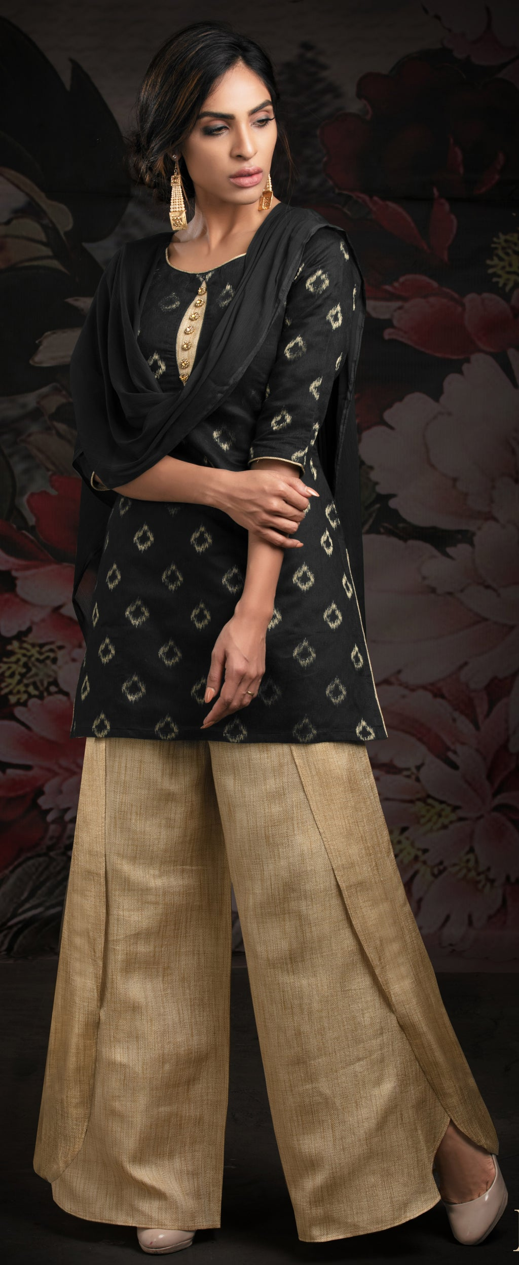 Black Color Chanderi Jacquard Readymade Party Wear Straight Suits NYF-9613