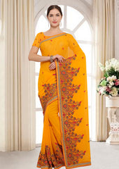 Dark Yellow Color Georgette Designer Festive Sarees : Kirat Collection  YF-59828