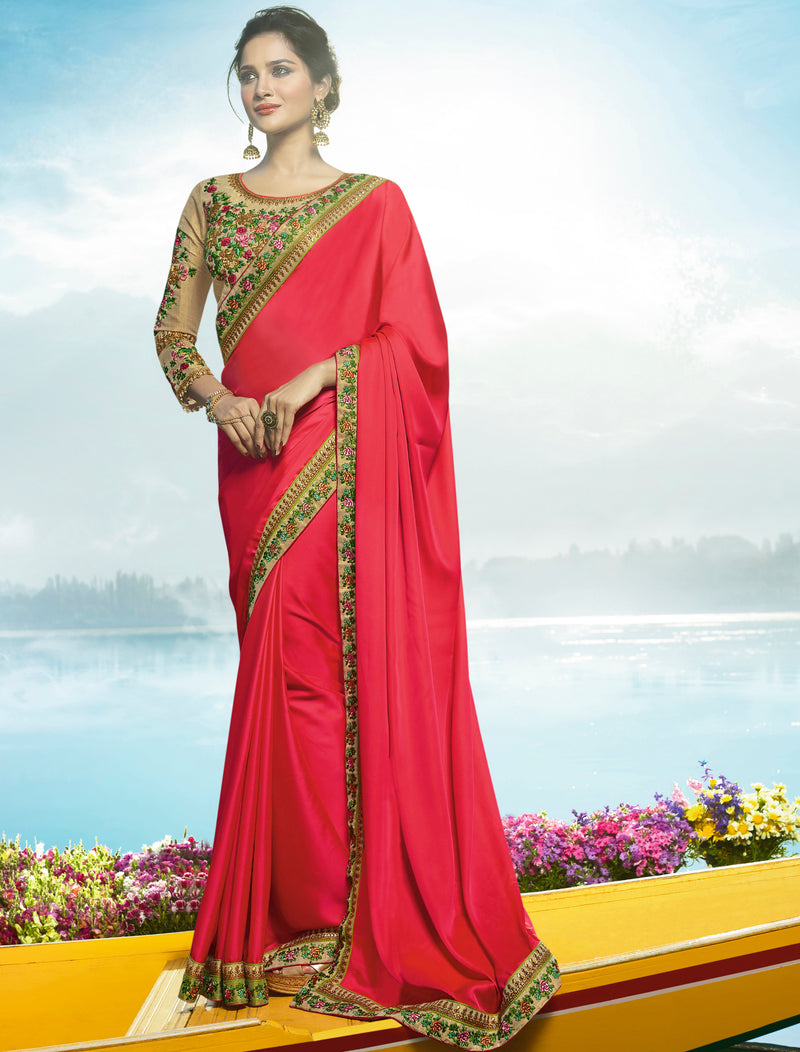 Pink Color Barfi Silk Wedding Function Sarees NYF-7983