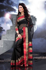 Black  Colour  Cotton  Material Saree: Amolika Collection -  YF-16897