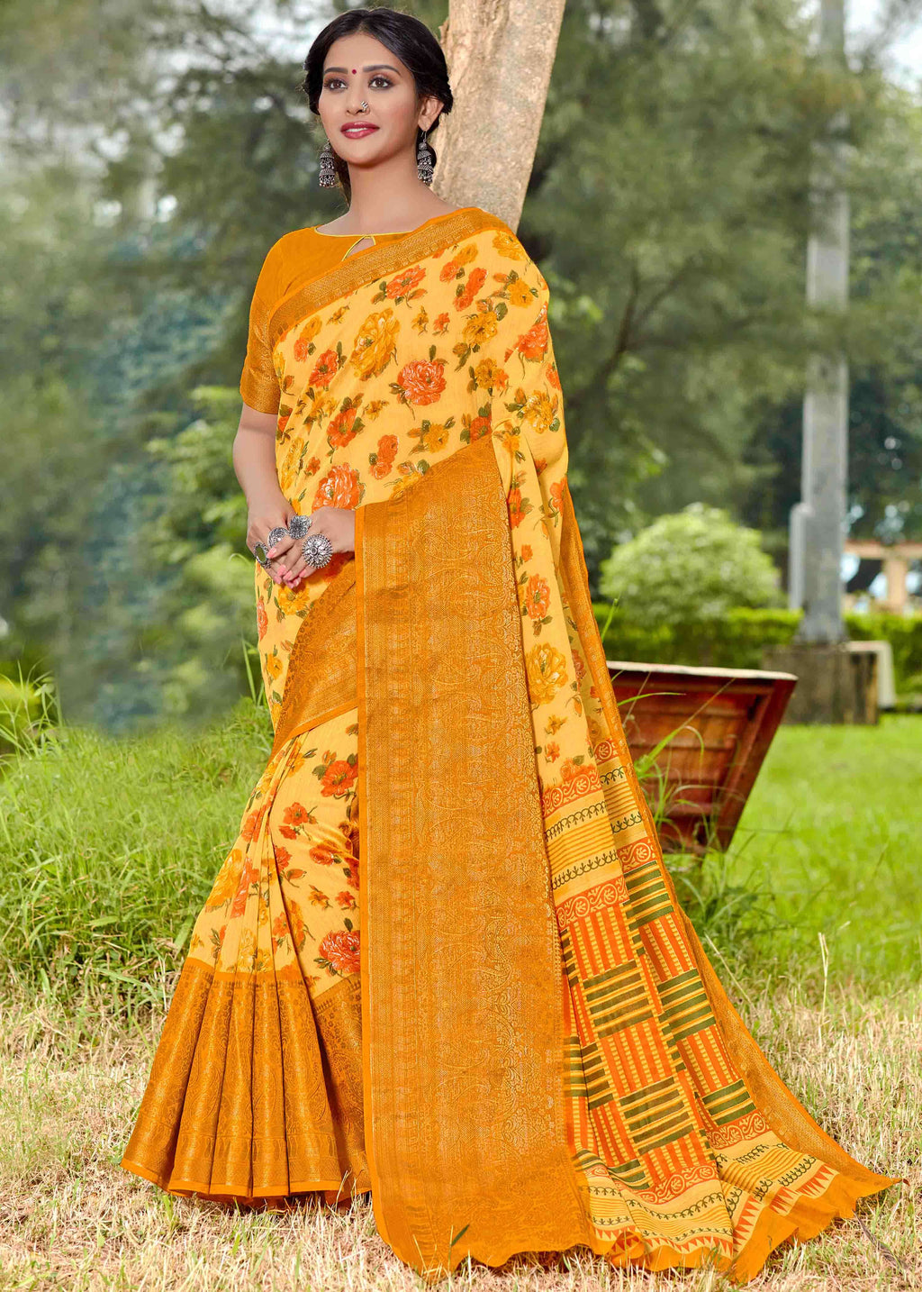 Yellow Color Linen Printed Party Wear Sarees NYF-9355