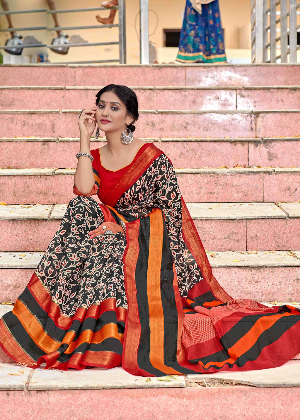 Multi Color Linen Printed Party Wear Sarees NYF-9358
