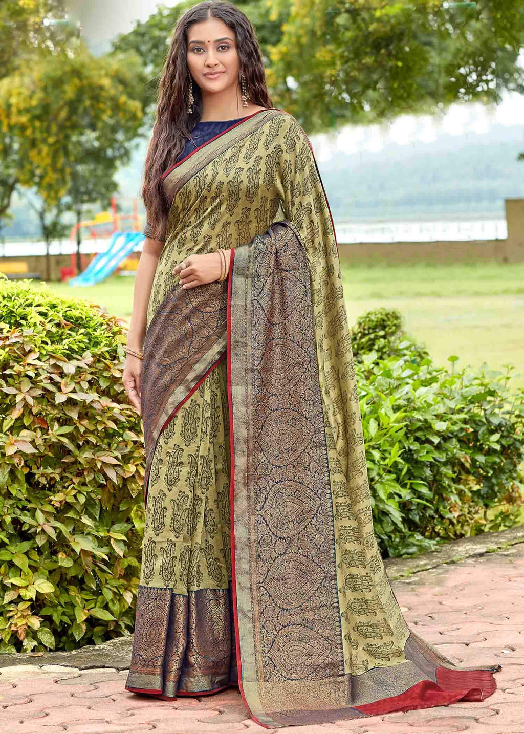 Mehendi Green Color Linen Printed Party Wear Sarees NYF-9359
