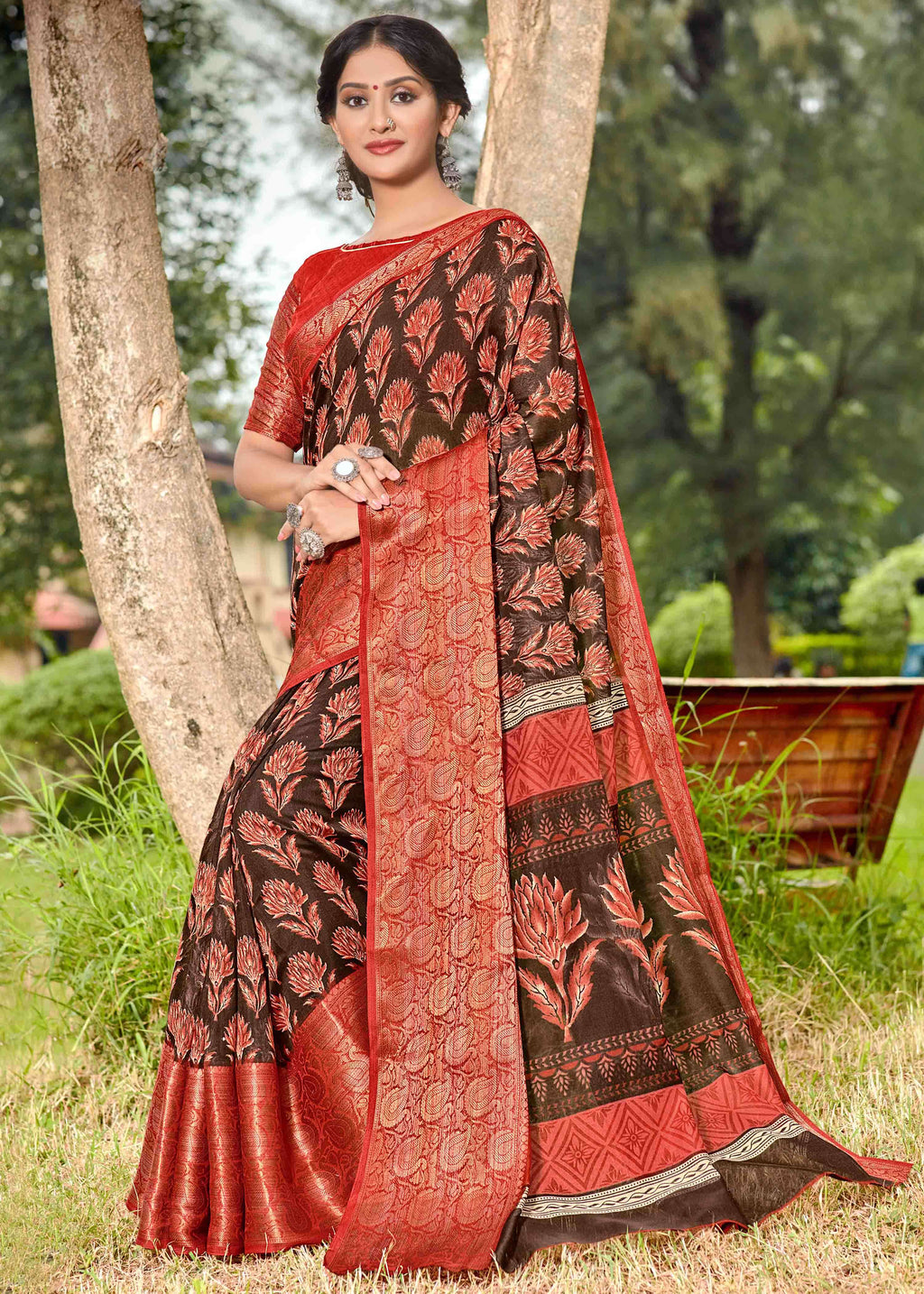 Brown Color Linen Printed Party Wear Sarees NYF-9360