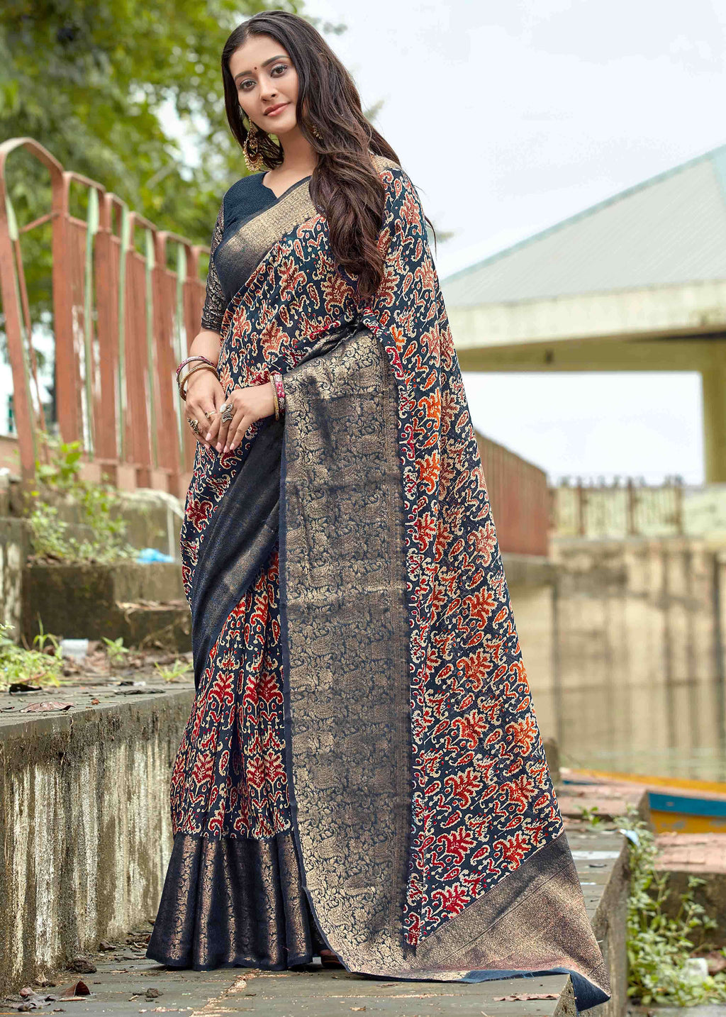 Blue Color Linen Printed Party Wear Sarees NYF-9365