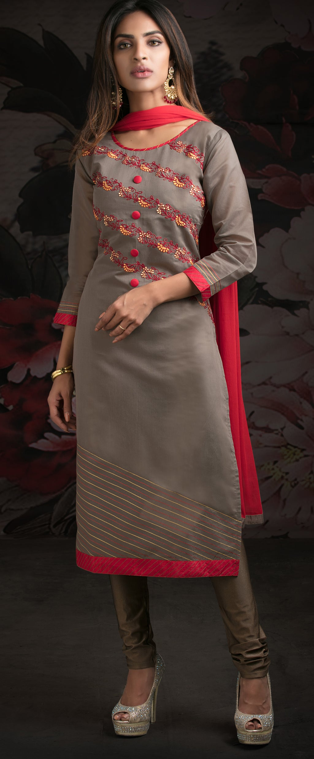 Grey Color Chanderi Readymade Party Wear Straight Suits NYF-9637