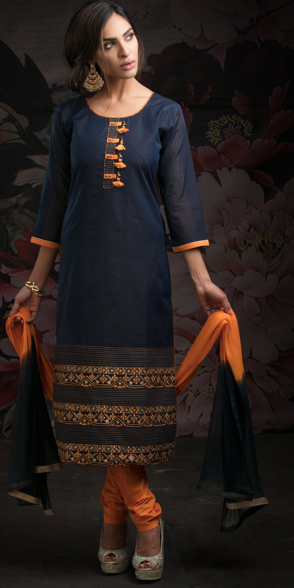 Blue Color Chanderi Readymade Party Wear Straight Suits NYF-9640