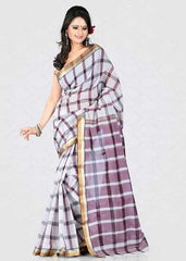 White Color Cotton Casual Party Wear Sarees : Bhavina Collection  YF-29886