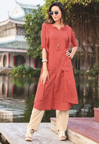 Brick Red Color Silk Cotton Readymade Designer Kurti With Palazzo ( Sizes - 38,40,42): Krishya Collection YF-69155