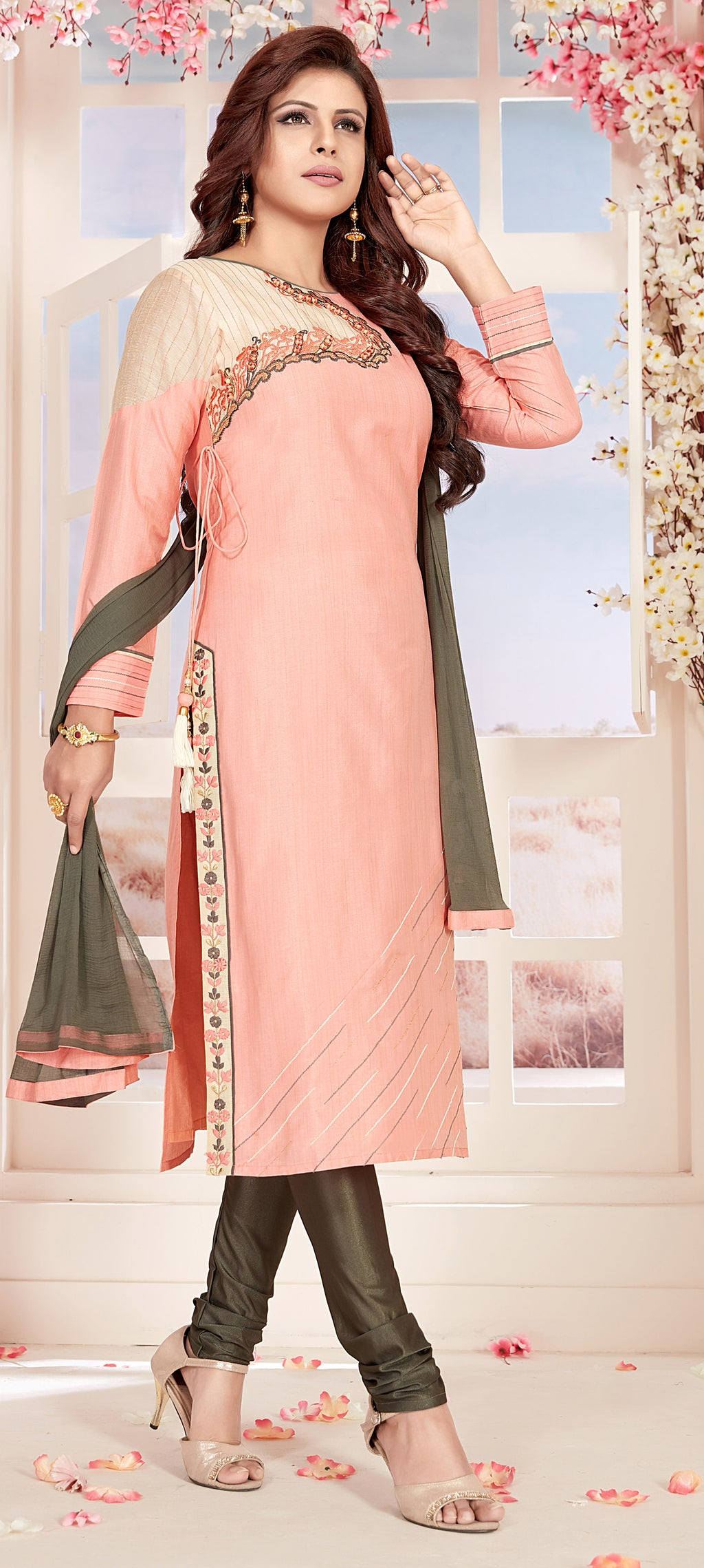 Pink Color Chanderi Readymade Party Wear Straight Suits NYF-9661