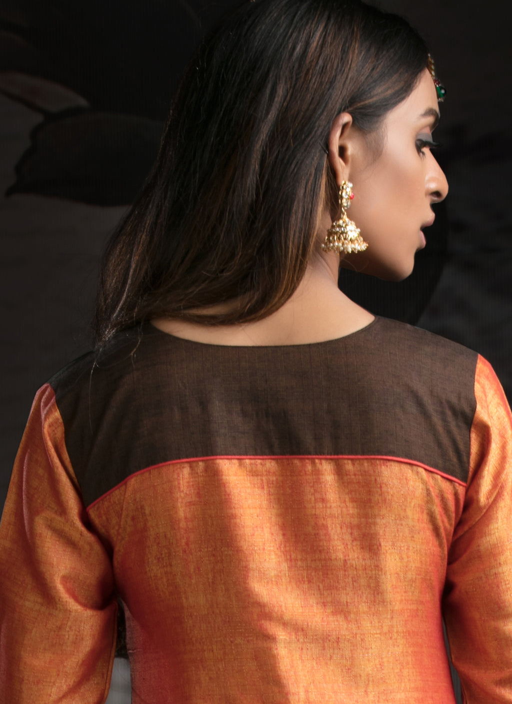 Orange Color Chanderi  Cotton Slub Readymade Party Wear Straight Suits NYF-9628