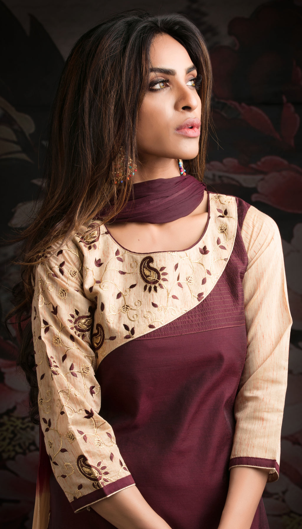 Wine Color Chanderi Readymade Party Wear Straight Suits NYF-9625