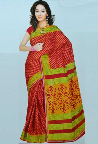 Red, Green and Yellow Color Bombay Cotton Daily Wear Sarees : Mihika Collection  YF-22040