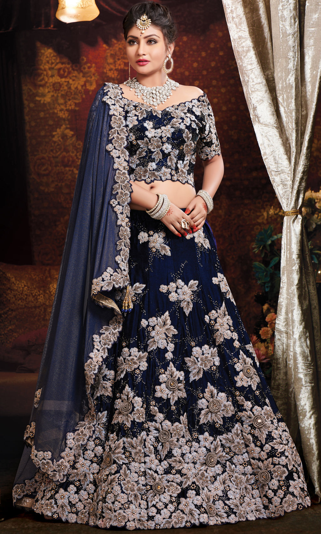 Blue Color Velvet Exquisite Bridal Wear Lehengas NYF-5772