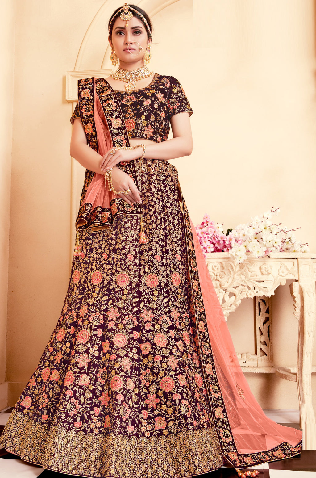 Maroon Color Velvet Exquisite Bridal Wear Lehengas NYF-5774