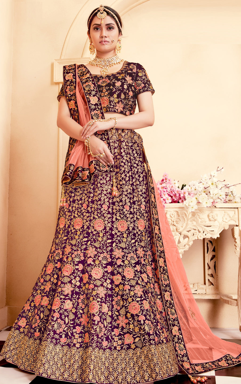 Purple Color Velvet Exquisite Bridal Wear Lehengas NYF-5775