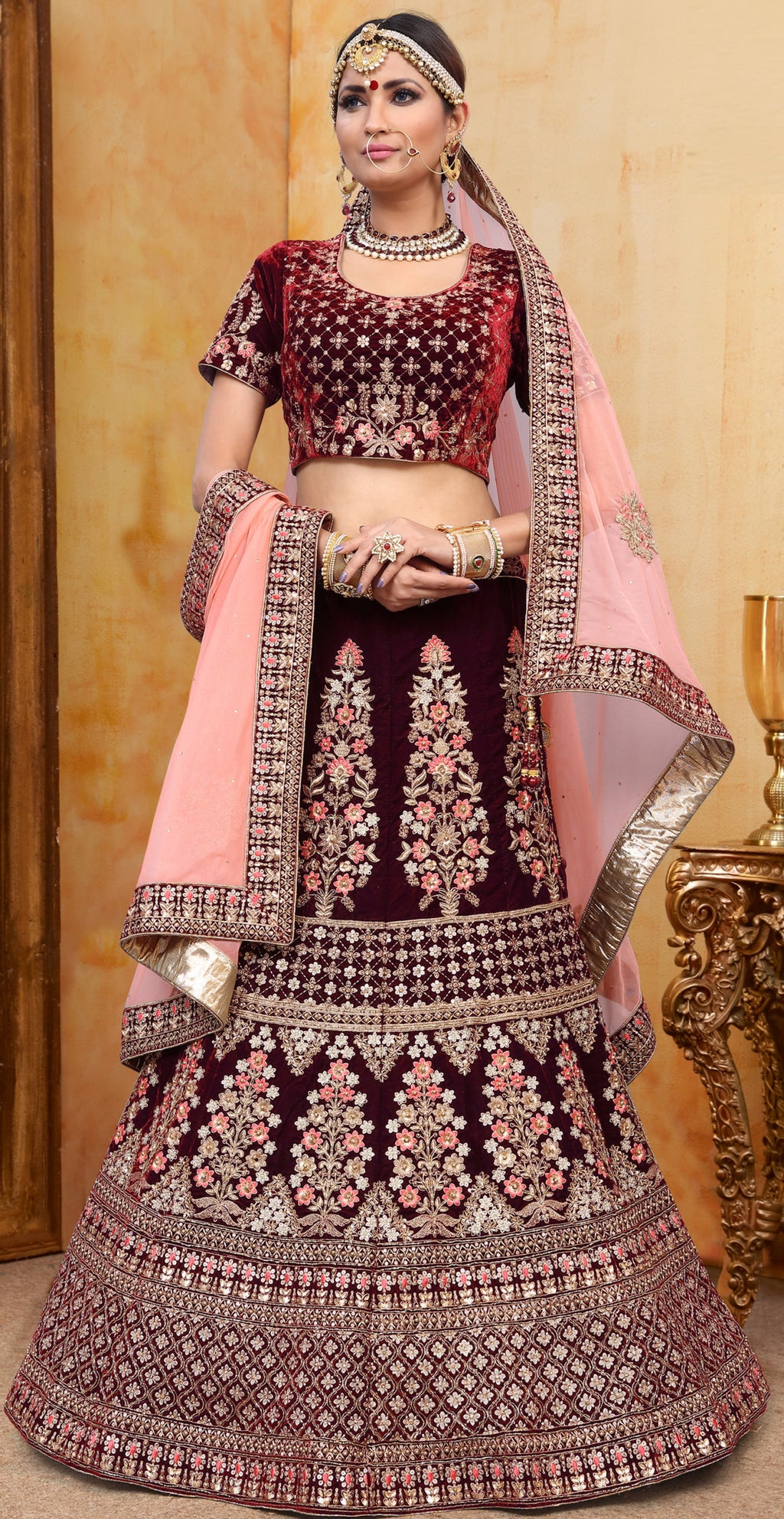 Purple Color Velvet Exquisite Bridal Wear Lehengas NYF-5780