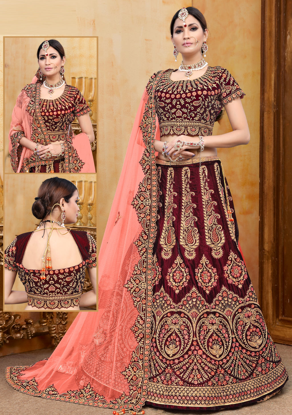 Maroon Color Velvet Exquisite Bridal Wear Lehengas NYF-5783