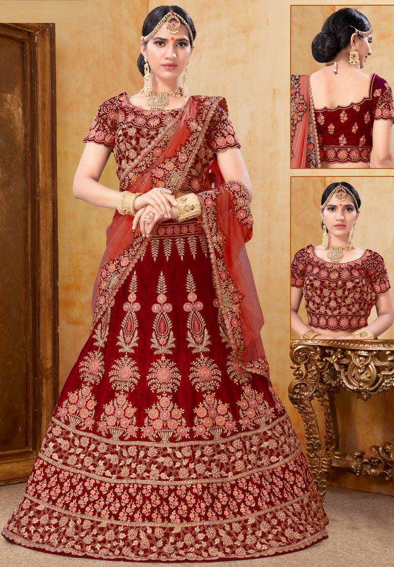 Red Color Velvet Exquisite Bridal Wear Lehengas NYF-5789