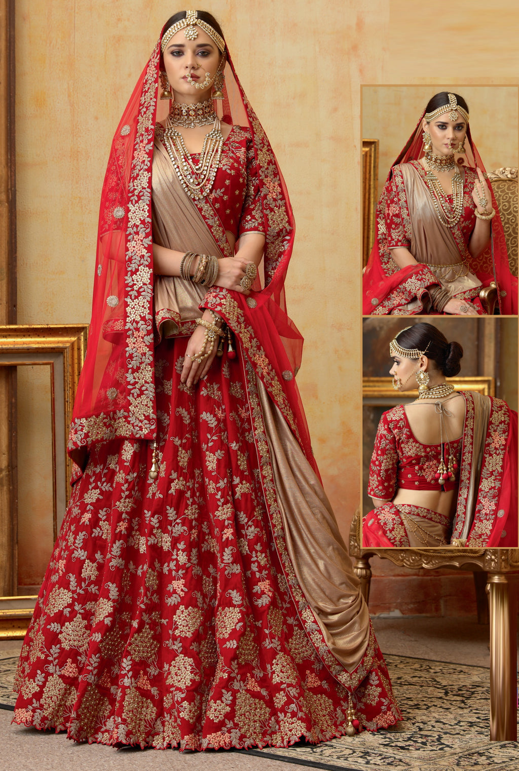 Red Color Velvet Exquisite Bridal Wear Lehengas (includes 2 Dupatta) NYF-5790