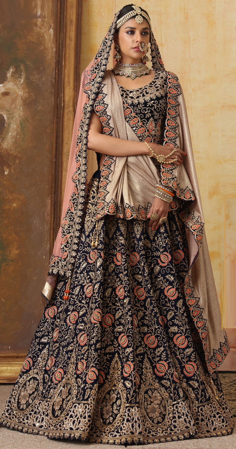 Blue Color Velvet Exquisite Bridal Wear Lehengas (includes 2 Dupatta) NYF-5792