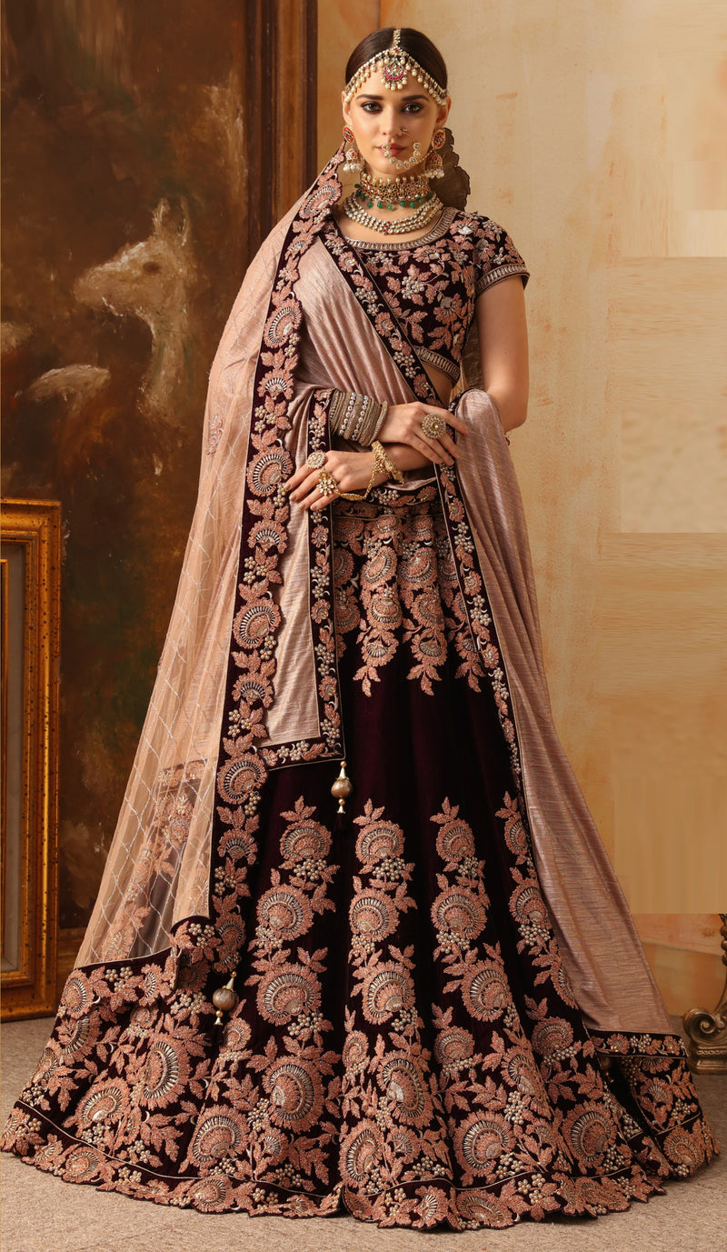 Maroon Color Velvet Exquisite Bridal Wear Lehengas (includes 2 Dupatta) NYF-5801