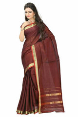 Brown Color Cotton Casual Party Wear Sarees : Bhavina Collection  YF-29887
