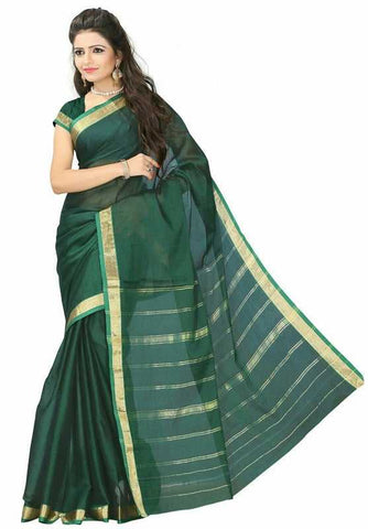 Bottle Green Color Cotton Casual Party Wear Sarees : Bhavina Collection  YF-29892
