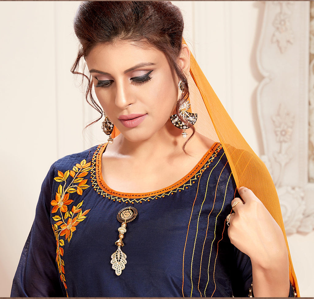 Blue Color Chanderi Readymade Party Wear Straight Suits NYF-9664