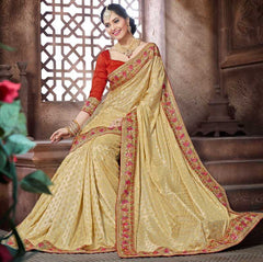 Light Golden Color Jacquard Crepe  Designer Festive Sarees : Niyara Collection  YF-51815