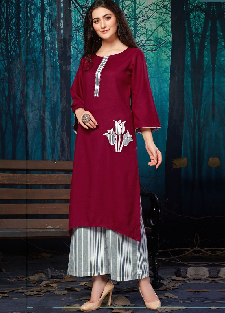 Maroon Color Rayon Readymade Designer Kurti With Palazzo ( Sizes - 38,40,42,44): Maun Collection NYF-2585 - YellowFashion.in
