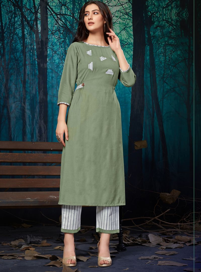Light Olive Green Color Rayon Readymade Designer Kurti With Palazzo ( Sizes - 38,40,42,44): Maun Collection NYF-2589 - YellowFashion.in