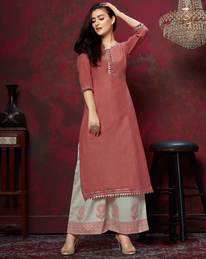 Pink Color Slub Cotton Readymade Designer Kurti With Palazzo ( Sizes - 38,40,42,44): Maun Collection NYF-2597 - YellowFashion.in