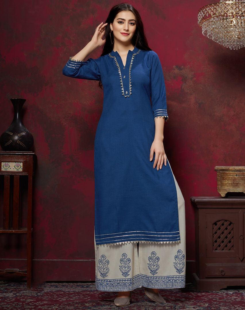 Blue Color Slub Cotton Readymade Designer Kurti With Palazzo ( Sizes - 38,40,42,44): Maun Collection NYF-2601 - YellowFashion.in