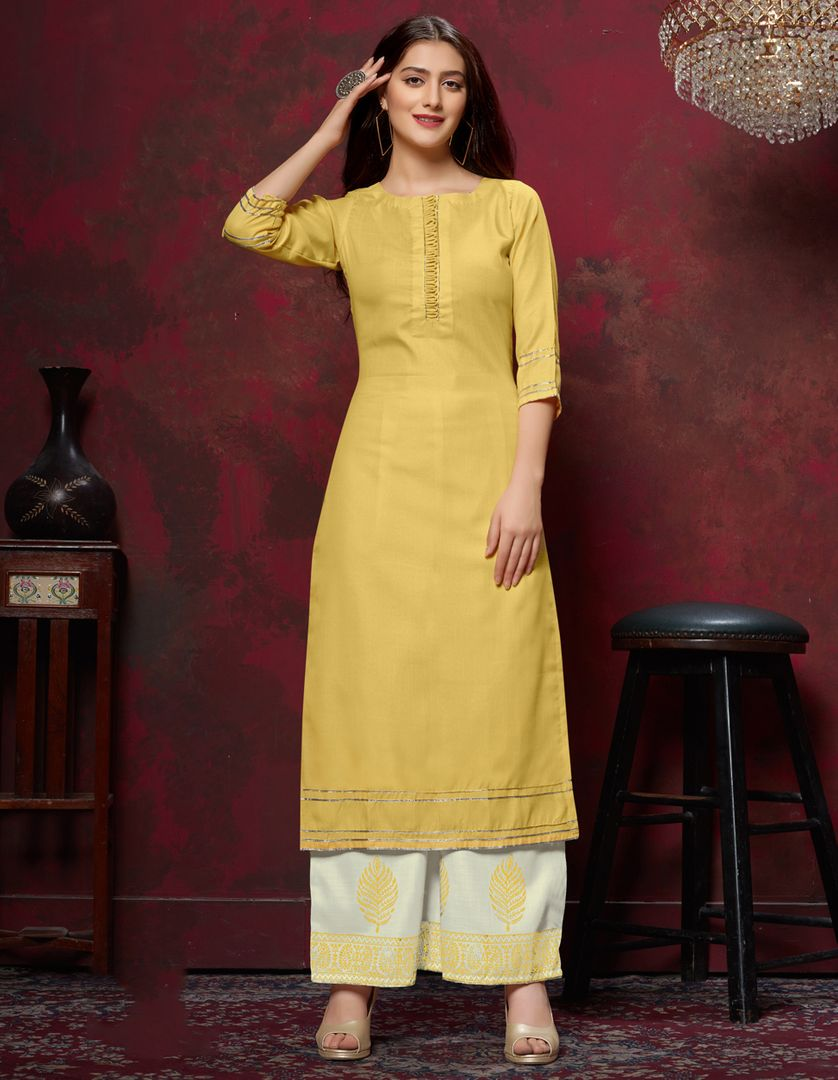 Yellow Color Slub Cotton Readymade Designer Kurti With Palazzo ( Sizes - 38,40,42,44): Maun Collection NYF-2605 - YellowFashion.in