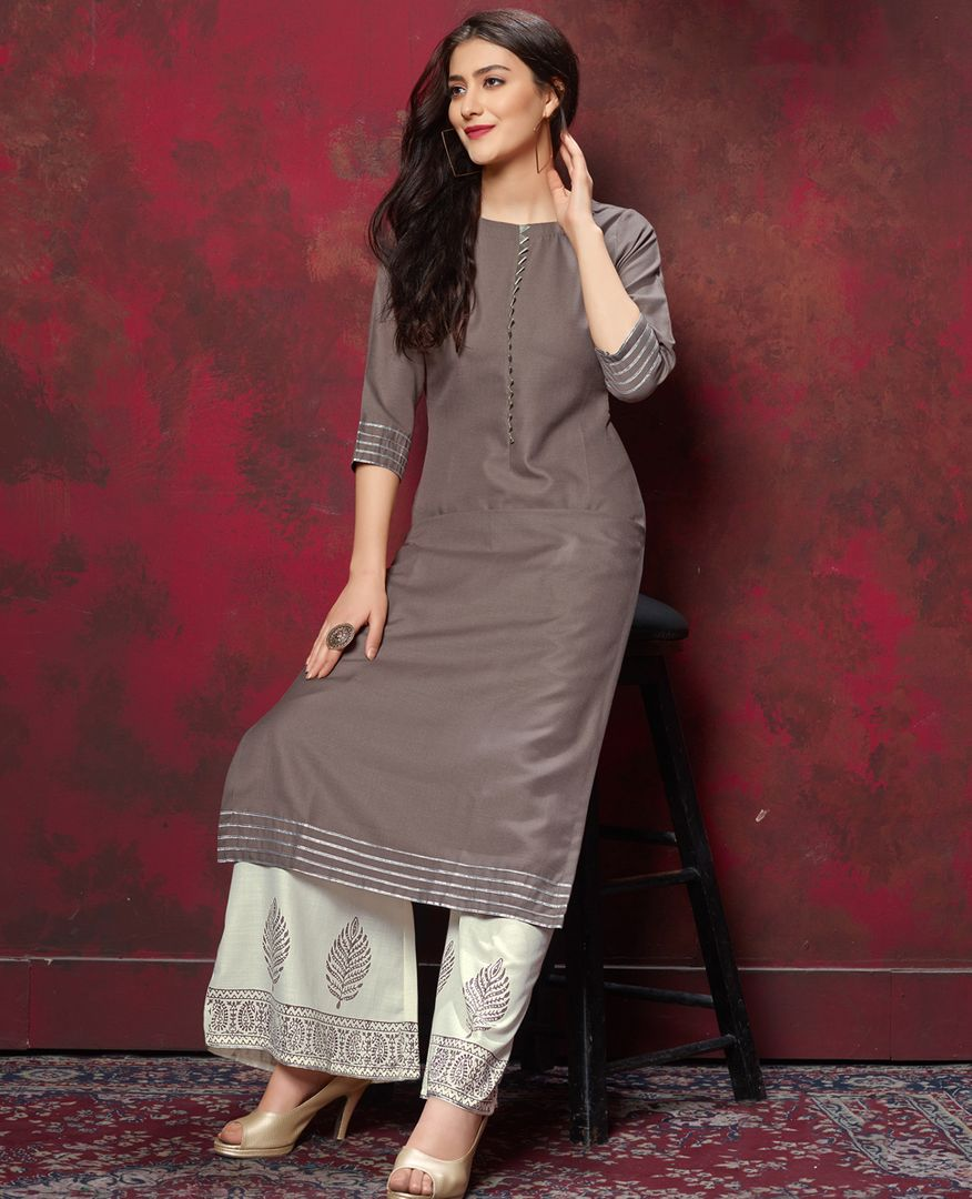 Burgandy Color Slub Cotton Readymade Designer Kurti With Palazzo ( Sizes - 38,40,42,44): Maun Collection NYF-2613 - YellowFashion.in