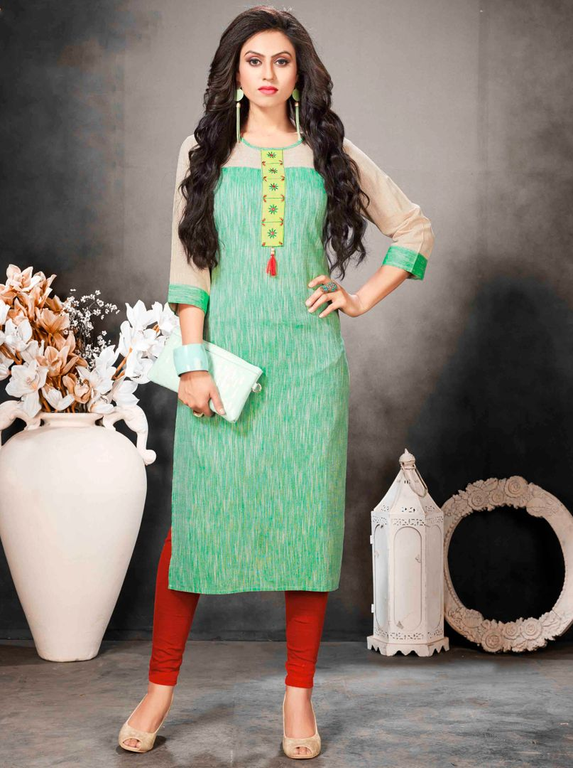 Green Color Khadi Cotton Readymade Office Wear Kurtis ( Sizes - 40,42, 44): Abhiraati Collection NYF-2620 - YellowFashion.in