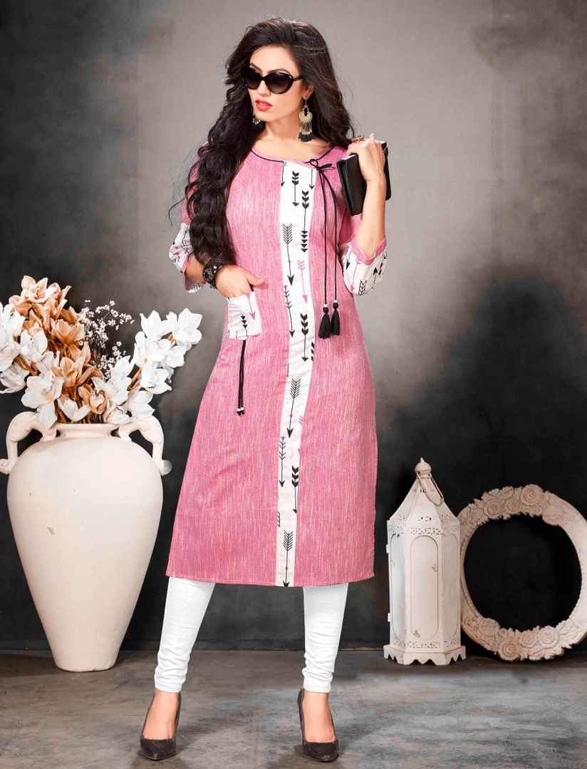 Pink Color Khadi Cotton Readymade Office Wear Kurtis ( Sizes - 40,42, 44): Abhiraati Collection NYF-2623 - YellowFashion.in
