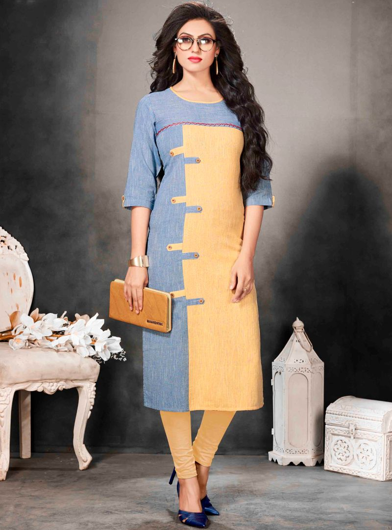 Blue Color Khadi Cotton Readymade Office Wear Kurtis ( Sizes - 40,42, 44): Abhiraati Collection NYF-2626 - YellowFashion.in
