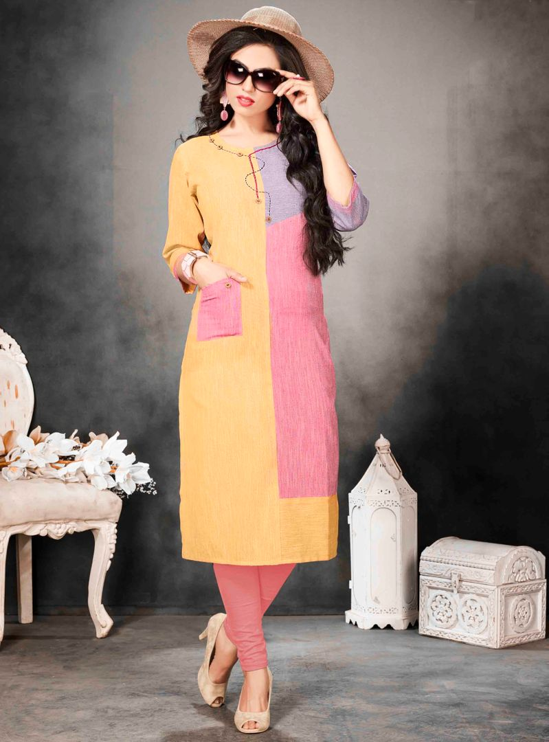 Multi Color Khadi Cotton Readymade Office Wear Kurtis ( Sizes - 40,42, 44): Abhiraati Collection NYF-2629 - YellowFashion.in