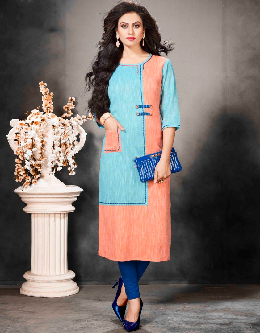 Firozi & Peach Color Khadi Cotton Readymade Office Wear Kurtis ( Sizes - 40,42, 44): Abhiraati Collection NYF-2632 - YellowFashion.in