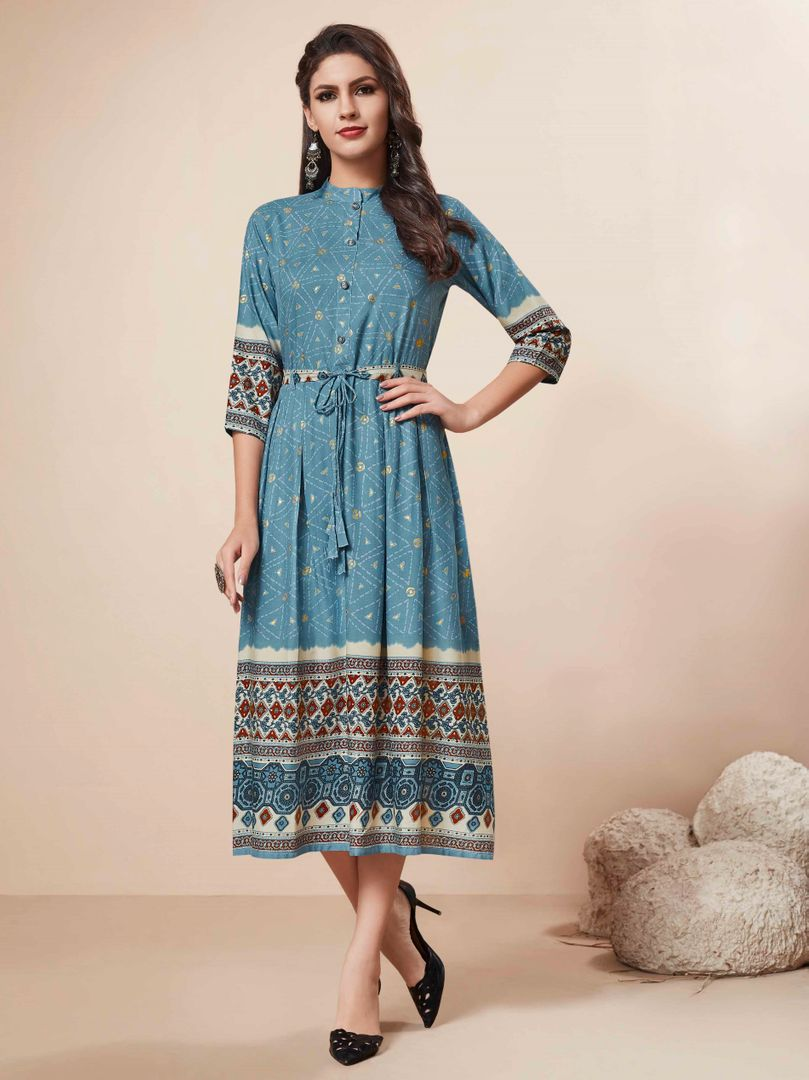 Blue Color Rayon Readymade Party Wear Kurtis ( Sizes - 34,36,38,40,42,44): Nainza Collection NYF-2635 - YellowFashion.in