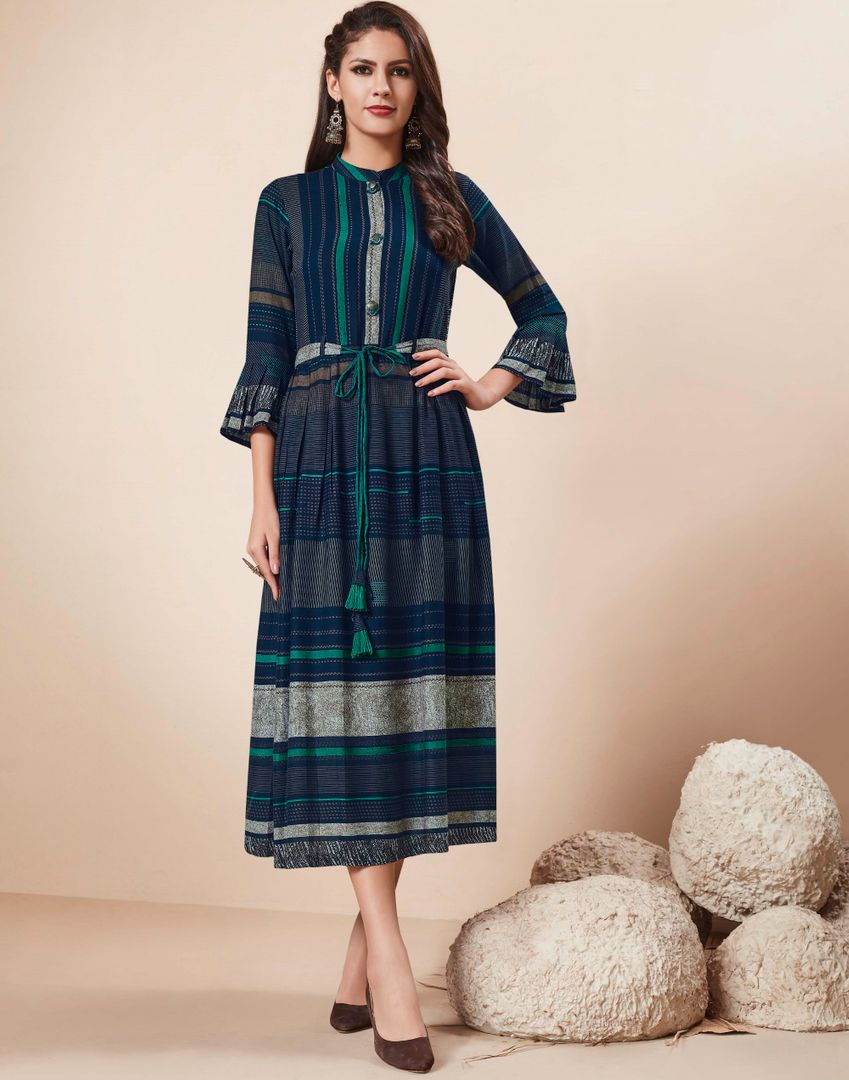 Blue Color Rayon Readymade Party Wear Kurtis ( Sizes - 34,36,38,40,42,44): Nainza Collection NYF-2647 - YellowFashion.in