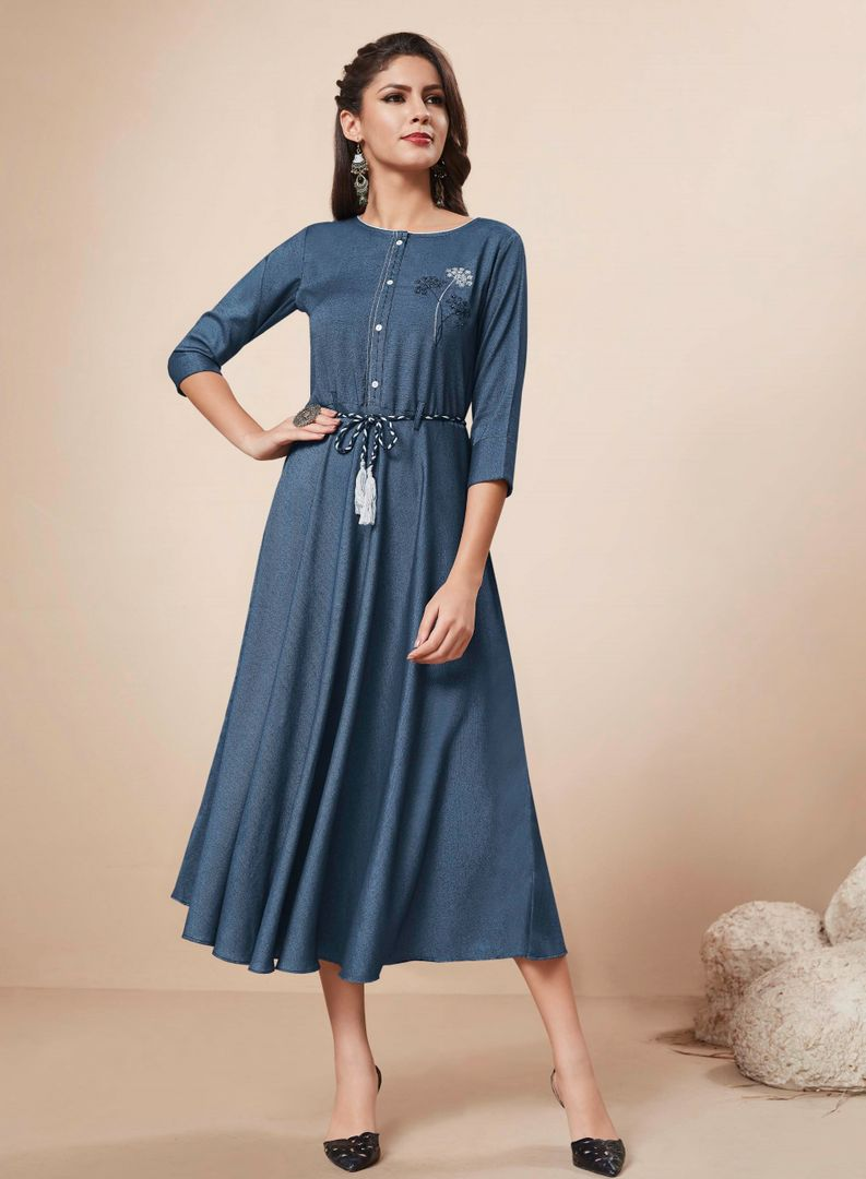 Blue Color Rayon Denim Readymade Party Wear Kurtis ( Sizes - 34,36,38,40,42,44): Nainza Collection NYF-2665 - YellowFashion.in