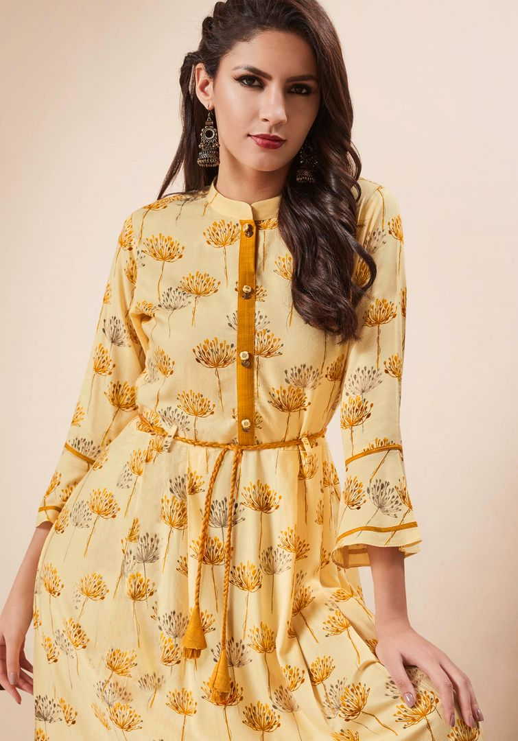 Yellow Color Rayon Readymade Party Wear Kurtis ( Sizes - 34,36,38,40,42,44): Nainza Collection NYF-2671 - YellowFashion.in